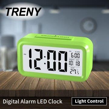 【TRENY直營】LED光控彩色鐘-綠...