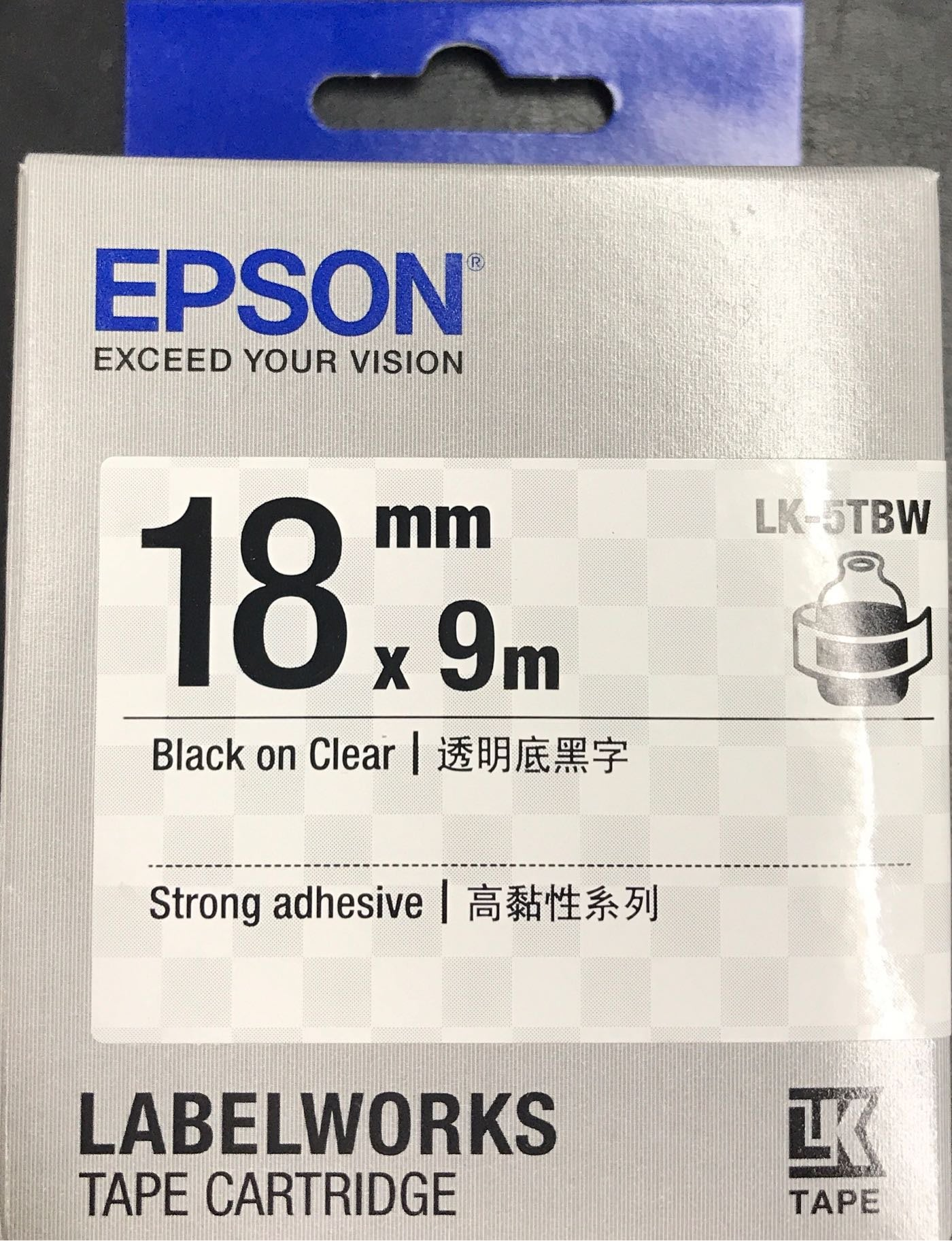 EPSON愛普生 18mm *9m 原廠標籤機色帶 高黏性系列 LK-5TBW. 透明底黑字