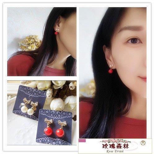 玫瑰森林-- ☆°*優雅 氣質款~  甜美  鋯石蝴蝶珍珠耳夾式 無耳洞耳環(特價)