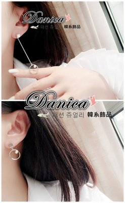 耳环 现货 韩国气质甜美 几何 方块 圆形 设计感 珍珠 不对称 长耳环 K92015 Danica 韩系饰品 韩国连线