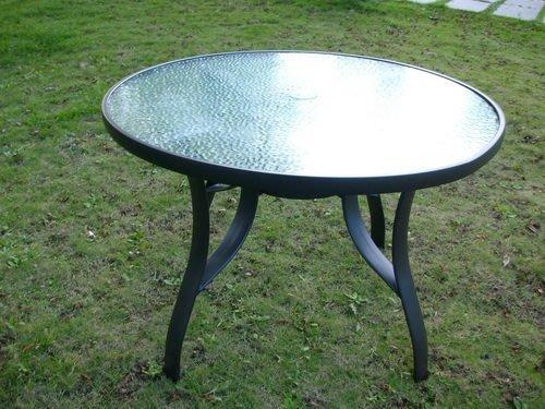 [兄弟牌戶外休閒傢俱]105cm鋁合金玻璃庭院桌~安全玻璃餐桌,咖啡廳圓桌,可插大陽傘,4-6人適用規格。