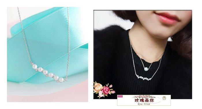 玫瑰森林- ☆°美麗嚴選~  精緻高雅 小珍珠 小水鑽一字墜  銀色項鍊 短鏈