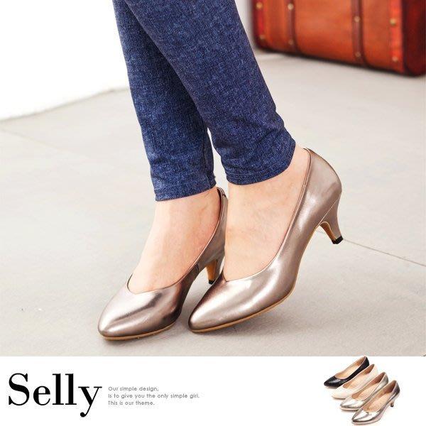全真皮尖頭雙窩心素面靜音跟鞋-四色-Selly-沙粒-(M071)