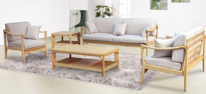 【DH】商品貨號n687A稱《威爾》原木布面1.2.3木製沙發組(含大小茶几)  布套可拆洗。備有胡桃色(可拆賣)主要地