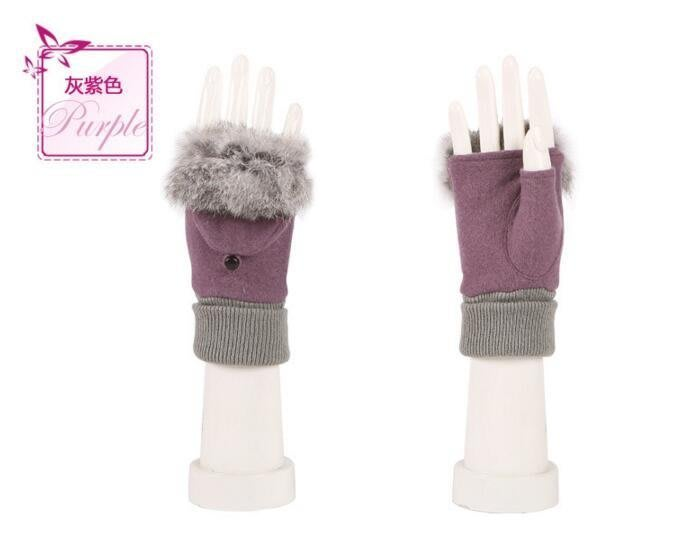 A3015兔毛半指 可愛翻蓋手套 女式兔羊毛面料 保暖 連指 鍵盤電腦手套  #3767
