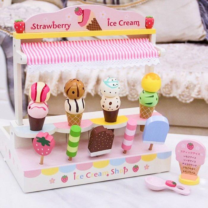 孩子王♛兒童專區~冰淇淋 小攤販~小朋友生日 |高 木製 仿真 草莓 模型|環保無毒 磁性