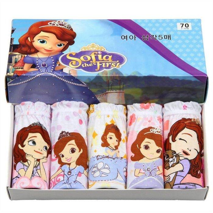 《琉璃的雜貨小舖》韓國原單 蘇菲亞小公主 女童三角內褲五件組