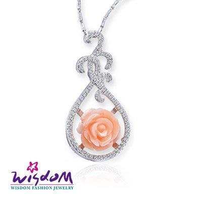 天然海洋紅珊瑚 時尚粉紅玫瑰墜飾(不含鍊)情人節/母親節/生日 送禮/自用 威世登時尚珠寶