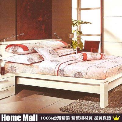 HOME MALL~台灣製【粉紅圖騰】雙人精梳棉薄床包.枕套組-700元(2件免運費)
