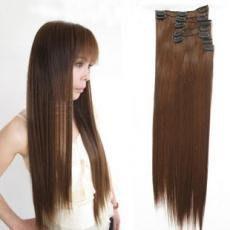 水媚兒假髮 全套直髮高溫絲接髮片KL160-H/全套7片加厚接髮片 深棕現貨