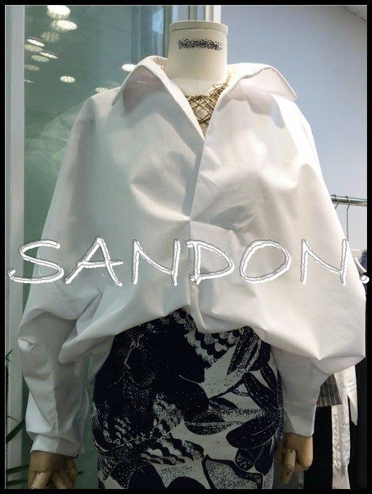 山東:KBF KOREA 韓國V領低胸BF寬鬆性感蝙蝠袖套頭長袖白色襯衫