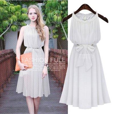 GOGO SHOP☆╭occident 夏季新款名媛淑女氣質顯瘦收腰白色雪紡連身裙背心洋裝【Y1260】白色S~XL