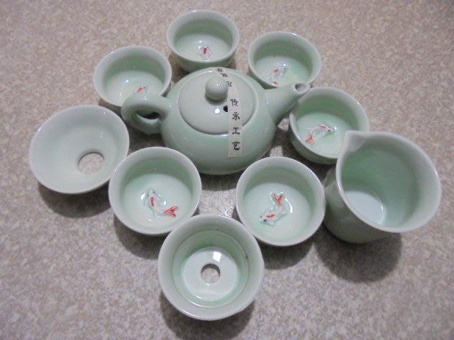 10件組合 汝窯 青瓷 浮雕 鯉魚杯 茶具 鯉魚杯 旅行 茶具組 茶道具組 攜帶式茶盤 戶外茶具 露營旅行