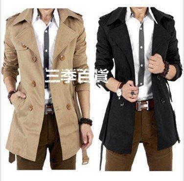 三季男士風衣中長款外套男風衣男修身韓版大衣男潮加肥加大碼 防風外套型男必備❖652