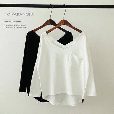 V領 素色 T恤 簡約百搭基本款純棉大V領斜口袋前短後長素色長袖T恤(白、黑)Ts016【Paranoid 偏執狂】