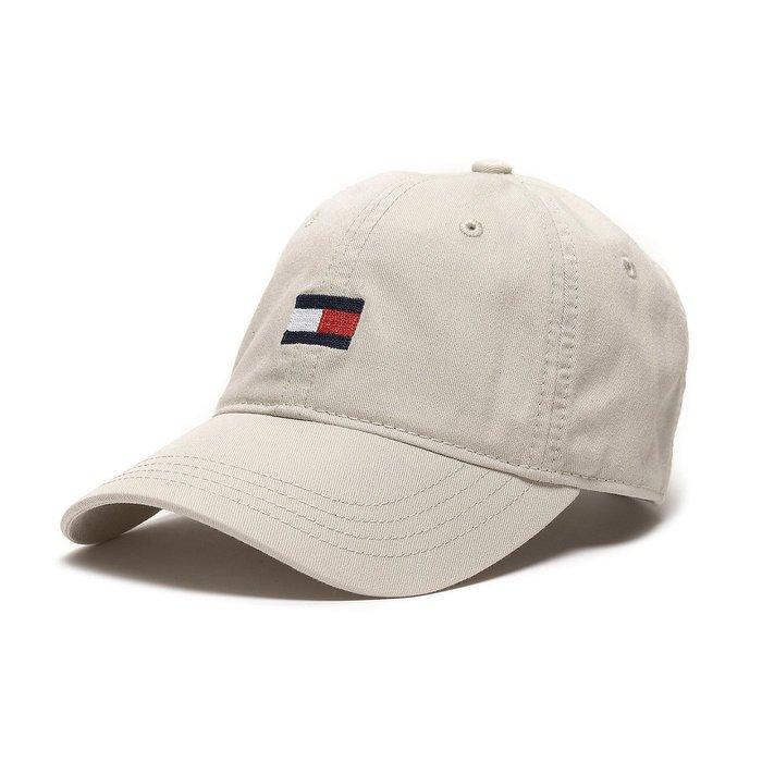 美國百分百【Tommy Hilfiger】帽子 TH  配件 棒球帽 遮陽帽 鴨舌帽 經典 大LOGO 卡其色 G860