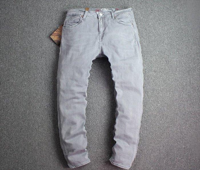 推薦 灰色牛仔 合身 做舊 復古風 牛仔長褲*OLDNICK老尼克*07152018-5