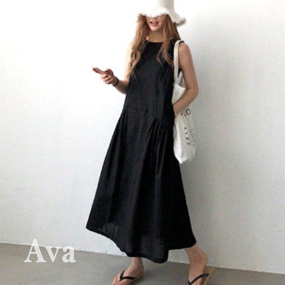 Ava正韓 亞麻布涼百搭時尚背心長裙長洋裝 韓國連線  1色 [預購]I749441-0706