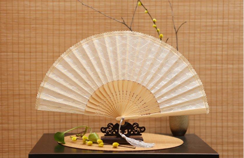 扇子 寬版蕾絲女扇子工藝折扇日用竹扇出國禮品扇絹扇歐美扇