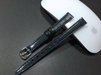 168錶帶配件 /真牛皮製面10mm全平面錶帶,有效替代搶人貴貨,深深藍色標