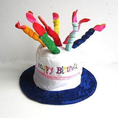 【洋洋小品生日帽:蛋糕帽藍色】桃園中壢生日party舞蹈用品戲劇表演道具舞會道具造型生日蛋糕帽