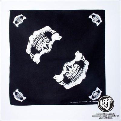 【野點子 Wild Idea】骷髏造型頭巾-黑.白-頭巾‧方巾‧手帕‧領巾