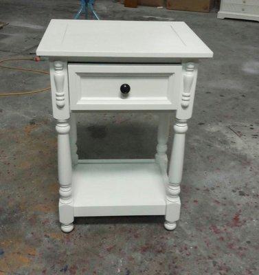 美生活館---英式新古典 純白色實木 一抽電話桌/角落櫃/床頭櫃/茶几/收納櫃