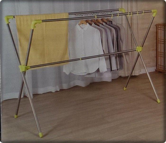 ~玩美主義~日式不銹鋼X型3桿衣架晾衣架落地曬衣架可伸縮曬被架 不鏽鋼衣架