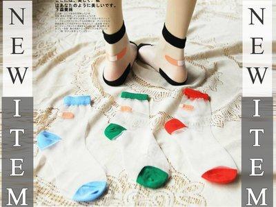 Copy&Paste【特價$39】搞怪童趣個性日本原宿風創意趣味OK蹦造型配色透明薄透膚水晶玻璃絲襪短襪 (綠色現貨)