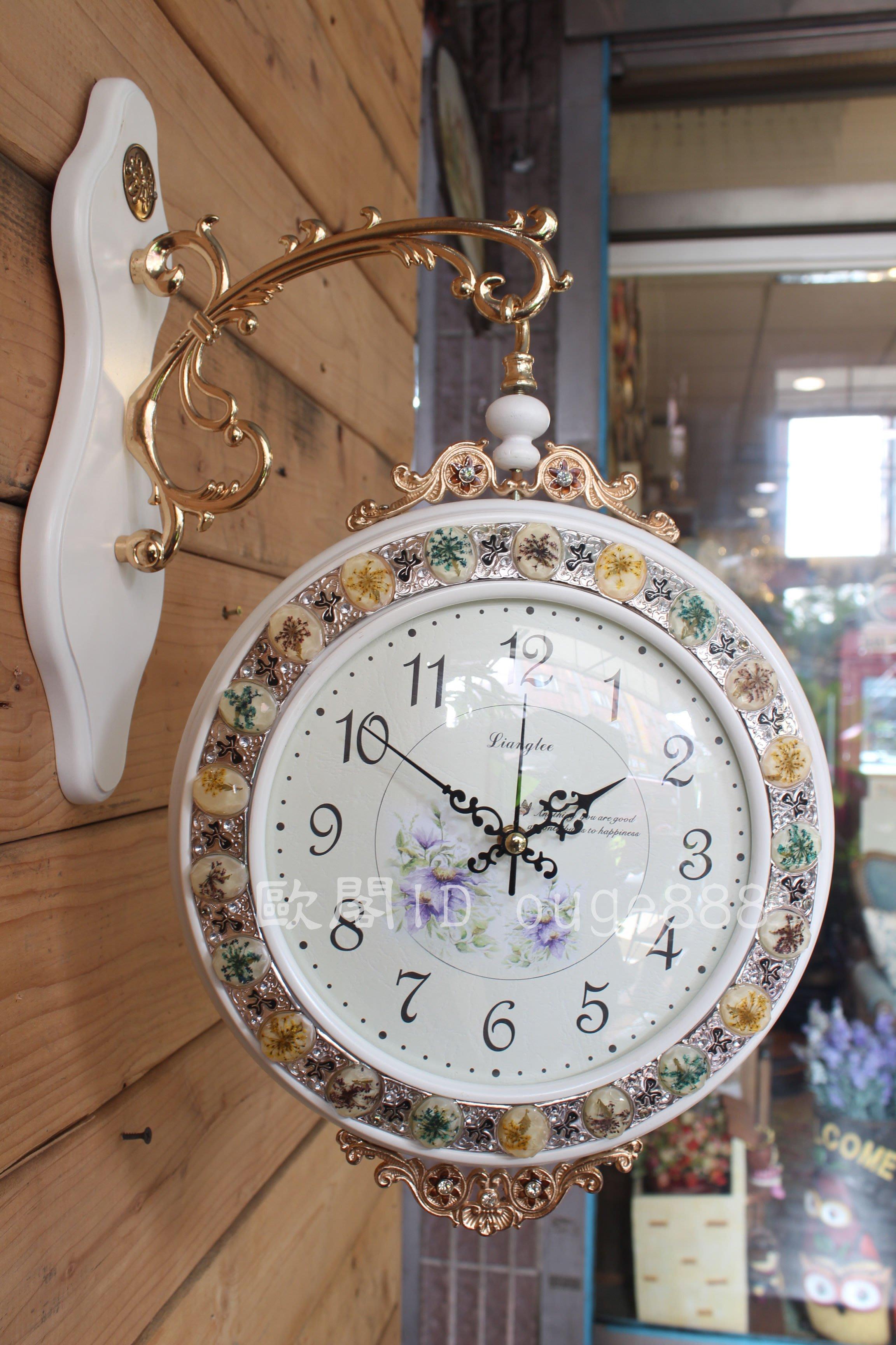 *歐閣鄉村傢俱傢飾*鄉村風掛鐘.歐式時鐘.古典雙面鐘.復古時鐘.歐式華麗雙面鐘.靜音時鐘.造型鐘.數字鐘.白色
