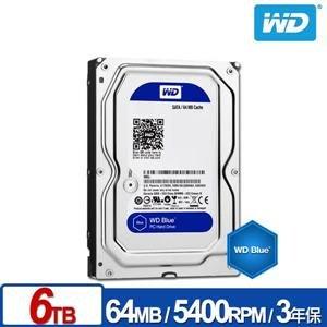 麒麟商城-【免運】WD 藍標 6TB 3.5吋PC專用SATA硬碟(WD60EZRZ)/3年保