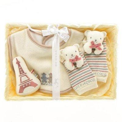 尼德斯Nydus~* 嚴選日本製 BE CERA 嬰兒/Baby用品 圍兜 玩偶 熊熊襪子 LOLO COCO禮盒組