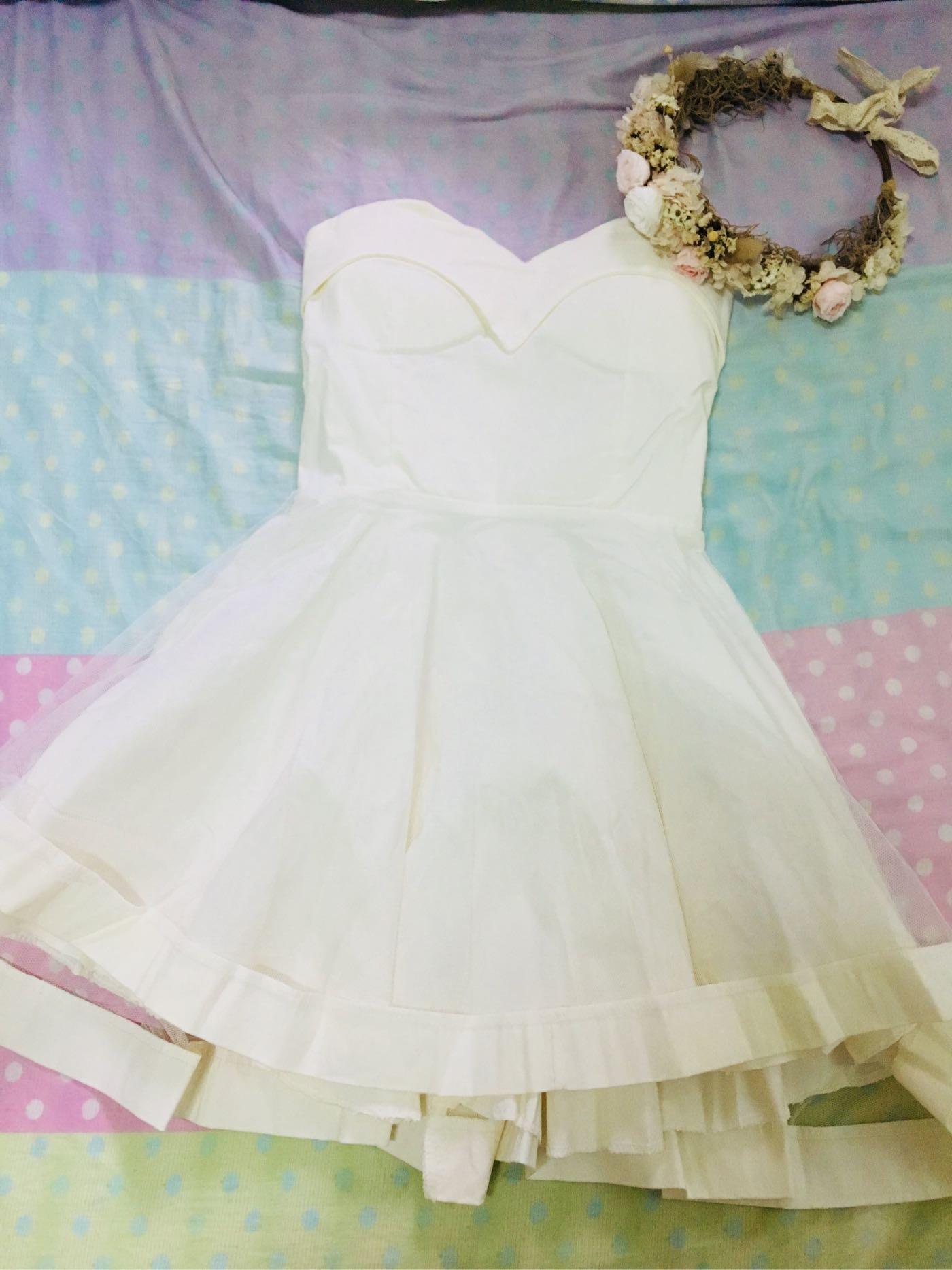 全新 白色晚宴小禮服 伴娘服 平口洋裝 小洋裝 網紗蓬蓬裙
