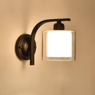 北歐LED鐵藝牆壁燈美式簡約臥室床頭燈書房陽台樓梯工程過道燈具【6030G+LED9瓦暖光】