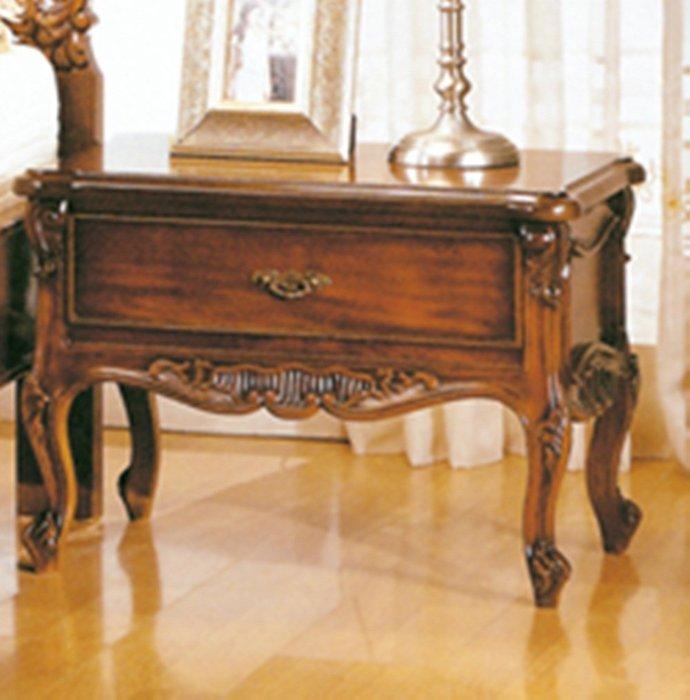【DH】商品貨號N504-2稱《尊龍》法式胡桃單抽床頭櫃。復古歐風時尚經典。主要地區免運費