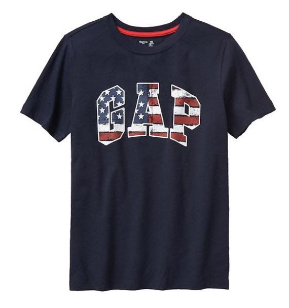 GAP 短袖 T恤 上衣 現貨 標誌 深藍國旗 大男童 XXL
