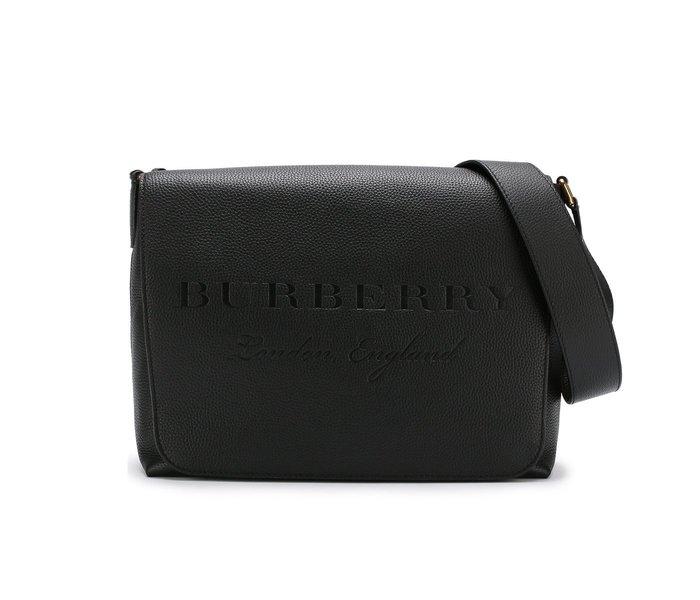 [全新真品代購-S/S18 SALE!] BURBERRY LOGO壓印 黑色紋理皮革 側背包 / 郵差包