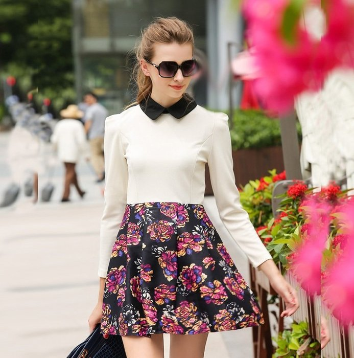 GOGO SHOP☆╭歐美新款純娃娃領撞色拼接玫瑰印花連身裙洋裝【X9942】S~XL另ZARA毛衣條紋露背外套