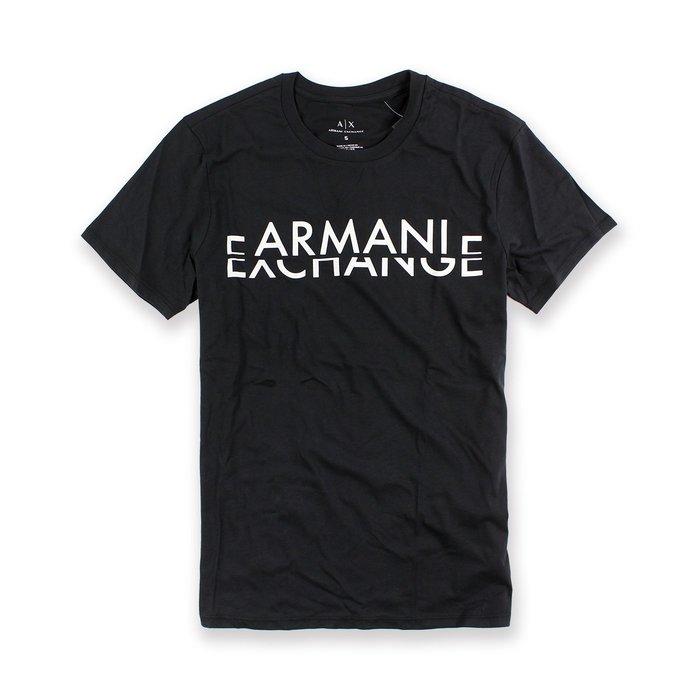 美國百分百【Armani Exchange】T恤 AX 短袖 logo 上衣 T-shirt 設計 黑色 S號 I017