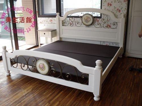 美生活館--鄉村彩繪家具風格--夏日玫瑰彩繪 五尺 / 六尺加大雙人床--有衣櫥/斗櫃/鏡台可搭