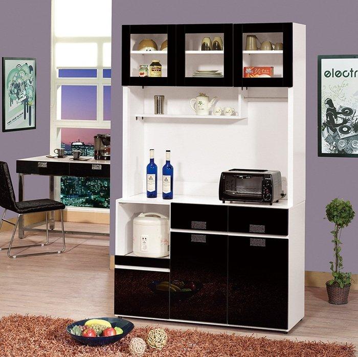 【DH】商品貨號vc926-2商品名稱 《韓熙》4尺白色黑玻餐櫃。黑白百搭,經典收納設計。新品特價中~