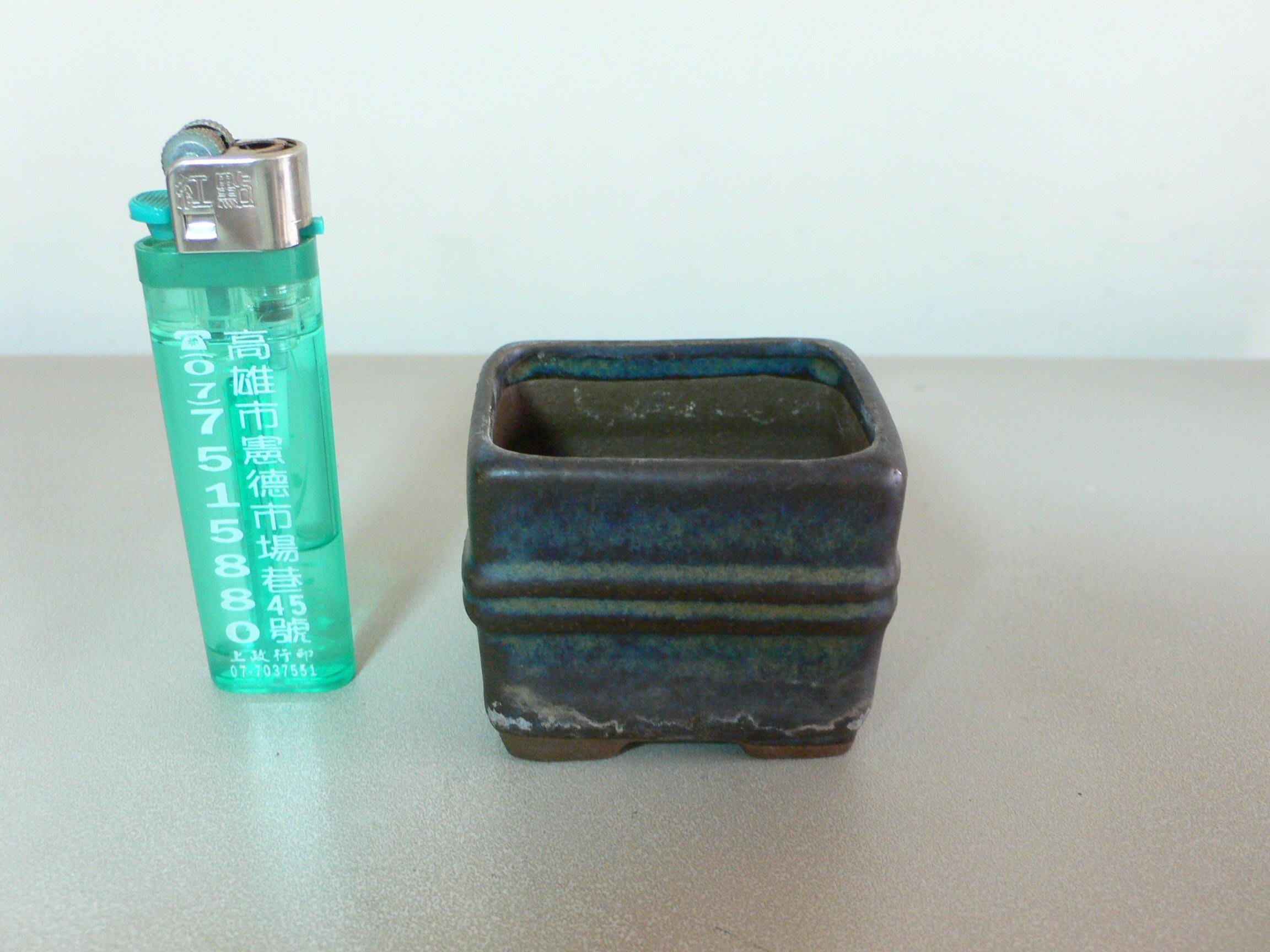 隨緣.BONSAI....台灣早期陽光盆..小長方中紐豆缽(2)....型制少見.