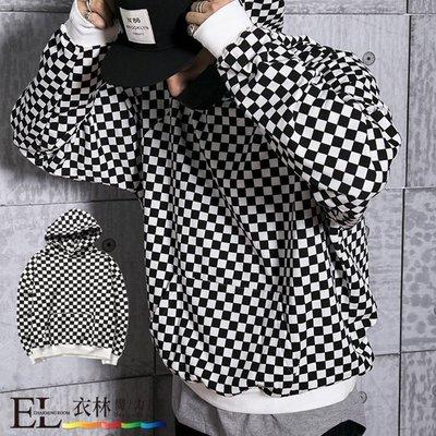 ☆衣林魔力屋☆經典格子設計口袋棉質帽T/長T.2件1000元