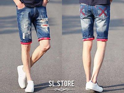 SL Store【SCLB108】嬉皮忍者XX紅印花反摺破壞牛仔短褲.藍/28/30/32/34