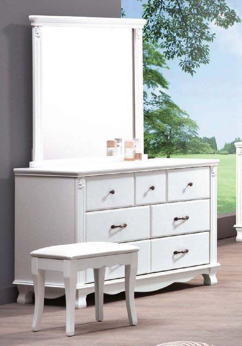 【DH】商品貨號E585-8商品名稱《斯尼》3.8尺烤白鏡台組含椅(圖一) 台灣製可訂做.細膩優質.主要地區免運費