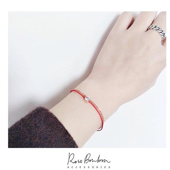 本命年紅繩開運手鍊戀愛運雙層手鍊鈦鋼醫療鋼防過敏玫瑰金單鑽鋯石日韓流行 生日禮物  Rose Bonbon