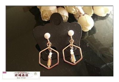 玫瑰森林-- ☆°*美麗嚴選~ 時尚 幾何造型 彩色穿珠 珍珠螺旋夾無耳洞耳夾耳環