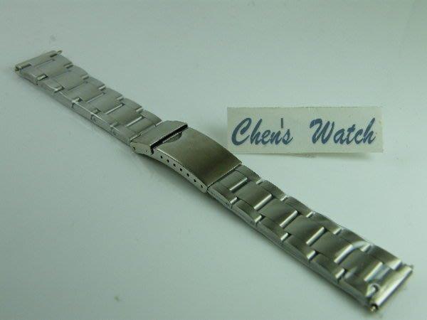 錶帶屋 有效替代16mm 18mm 20mm  三板拉銀絲平頭實心鋼帶+不鏽鋼製安全扣