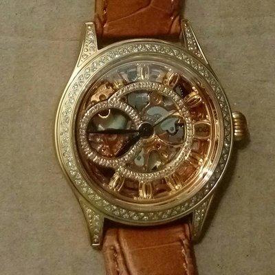 HOGA鏤空真鑽皮帶手上鍊男錶