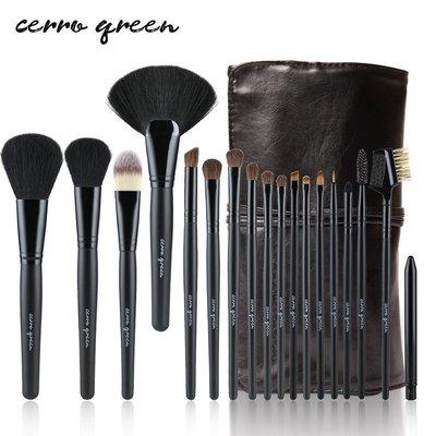 【愛來客 】專利商標品牌cerro qreen黑色天然動物毛18支專業級化妝刷彩妝刷